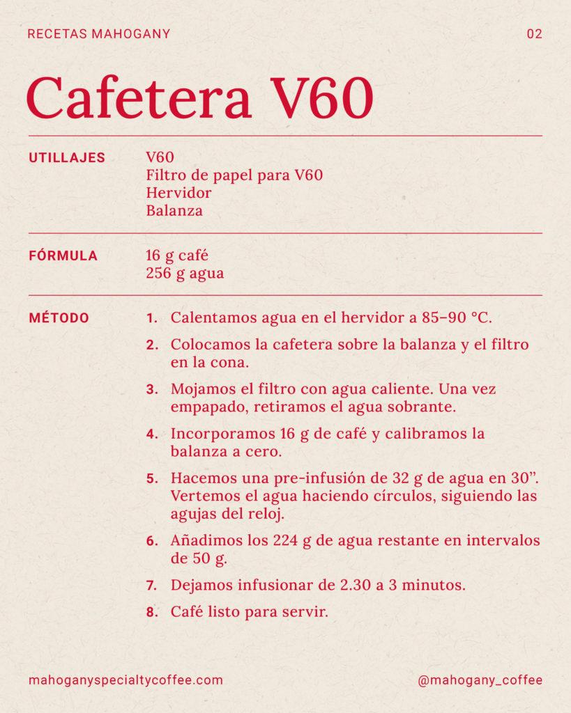 Receta para preparar café de filtro con la cafetera V60 Hario